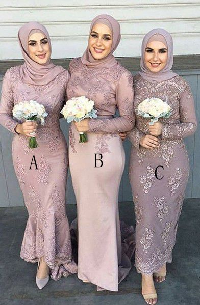 Modern Blush Pink Sadi Arabia Long Bridesmaid Dresses With Sleeve_1