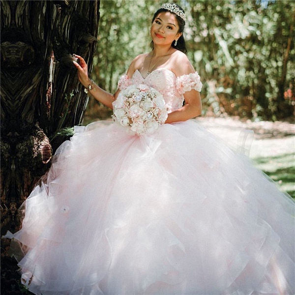 Glorious Off-the-shoulder Organza Ball Gown Quinceanera Dress_1