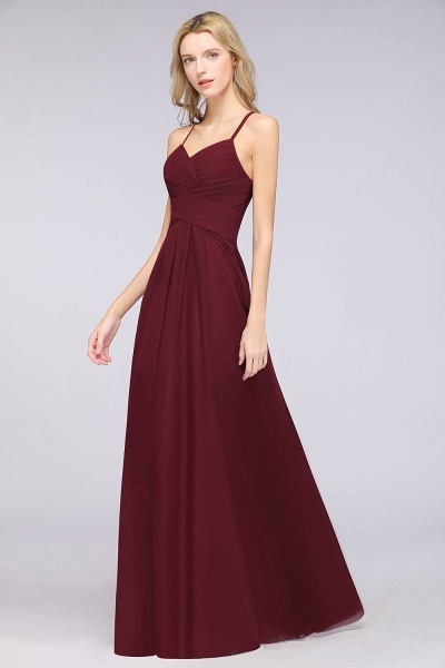 A-Line Chiffon Halter V-Neck Sleeveless Floor-Length Bridesmaid Dress with Ruffles_38