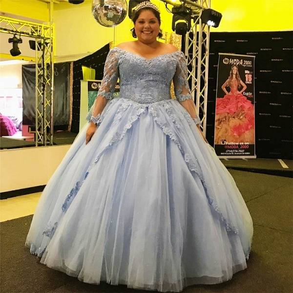 Fabulous Off-the-shoulder Tulle Ball Gown Quinceanera Dress_1