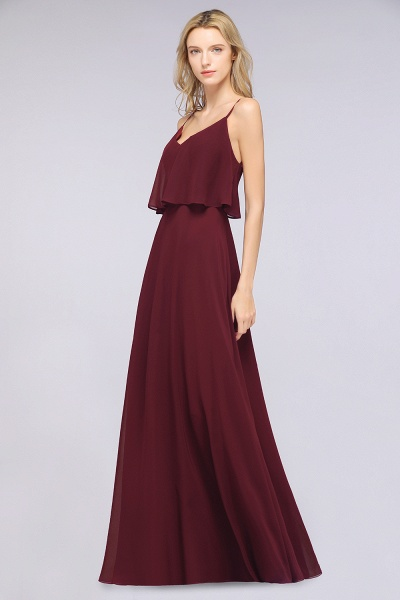BMbridal Sexy Chiffon V-Neck Burgundy Chiffon Bridesmaid Dresses with Spaghetti Straps_4