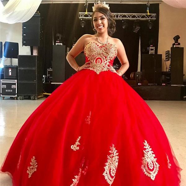 Sleek Sweetheart Tulle Ball Gown Quinceanera Dress_1