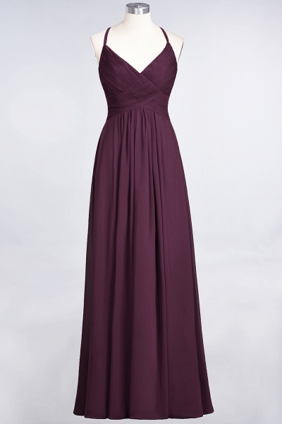 A-Line Chiffon Spaghetti-Straps V-Neck Sleeveless Floor-Length Bridesmaid Dress with Ruffles_19