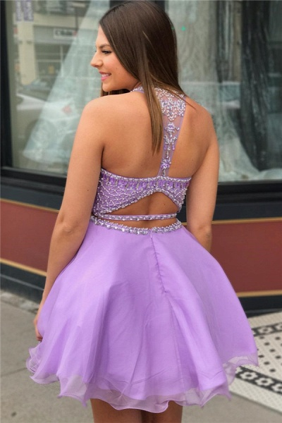Purple Crystal Halter Sleeveless Two-Piece Home-Coming Dress_2