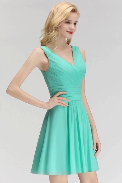 BM0061 A-line Ruffles Sexy V-Neck Sleeveless Short Bridesmaid Dress_7