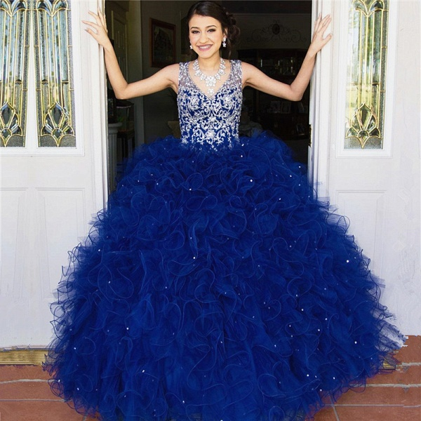 Wonderful V-neck Tulle Ball Gown Quinceanera Dress_1