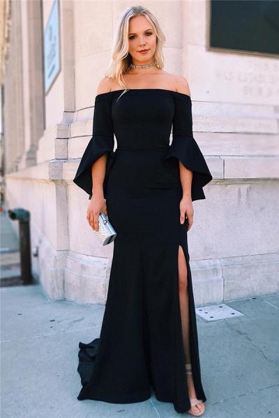 Excellent Off-the-shoulder Split Front Mermaid Evening Dress_1