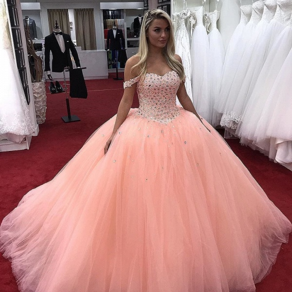 Marvelous Pink Off-the-shoulder Ball Gown Quinceanera Dress_1