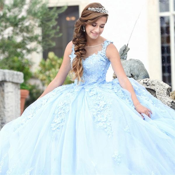 Exquisite Bateau Appliques Ball Gown Quinceanera Dress_1