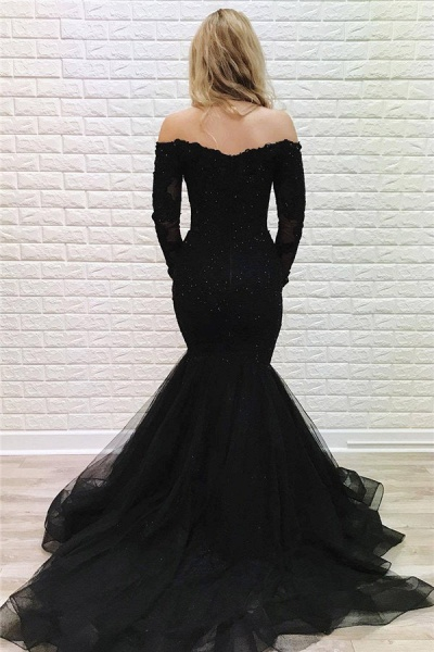 Wonderful Off-the-shoulder Appliques Mermaid Evening Dress_2