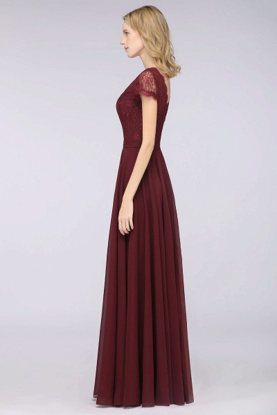 A-Line Chiffon Lace V-Neck Cap-Sleeves Floor-Length Bridesmaid Dress_6