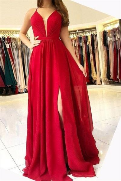 Best Halter Split Front A-line Prom Dress_1