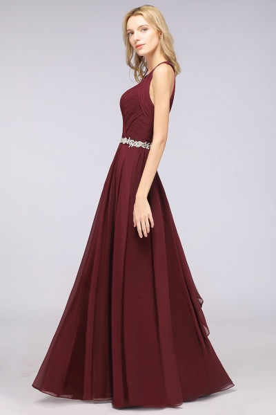 A-Line Chiffon Halter V-Neck Sleeveless Ruffle Floor-Length Bridesmaid Dress with Appliques Sashes_6