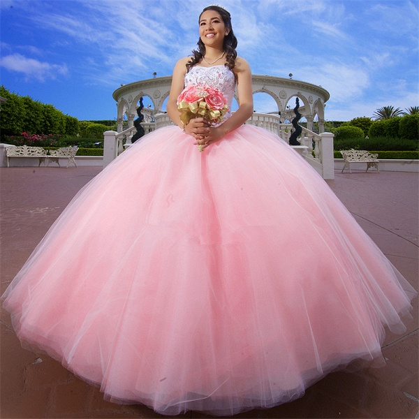 Modest Sweetheart Tulle Ball Gown Quinceanera Dress_1
