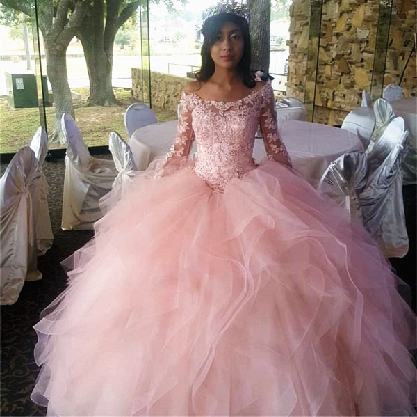 Wonderful Off-the-shoulder Tulle Ball Gown Quinceanera Dress_1