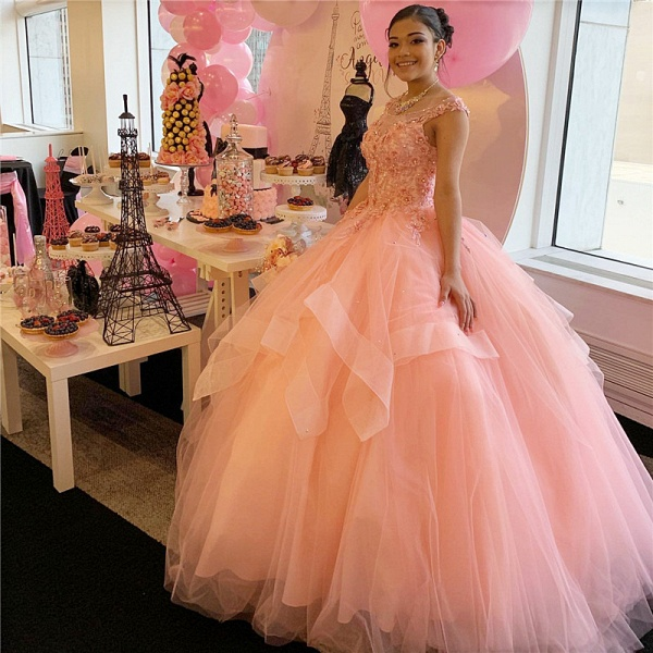 Graceful Scoop Tulle Ball Gown Quinceanera Dress_1