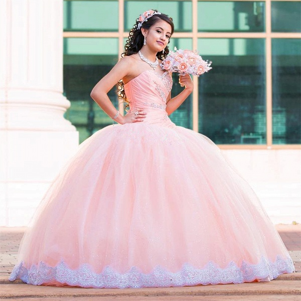 Beautiful Sweetheart Tulle Ball Gown Quinceanera Dress_2