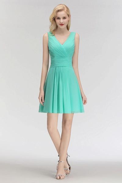 BM0061 A-line Ruffles Sexy V-Neck Sleeveless Short Bridesmaid Dress_3