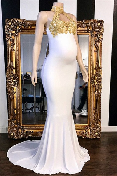 Fascinating High Neck Appliques Mermaid Prom Dress_1
