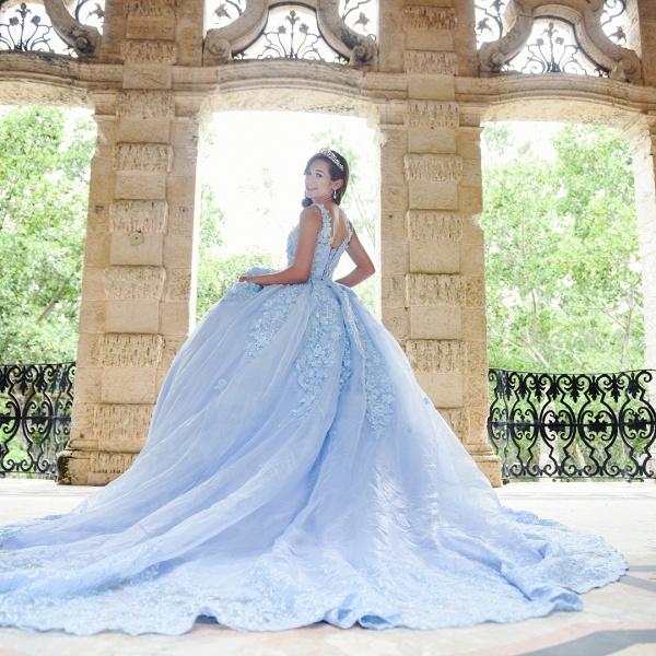 Exquisite Bateau Appliques Ball Gown Quinceanera Dress_2