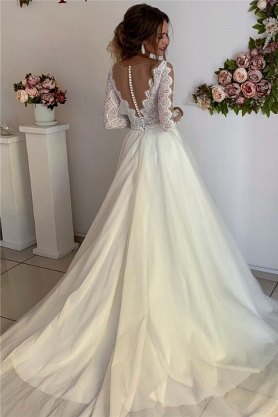 Gorgeous Lace V-Neck Long Sleeves A-Line Prom Dress_2