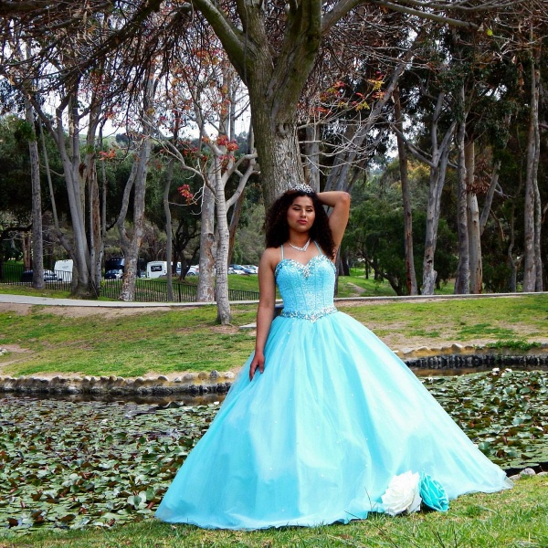Sleek Spaghetti Straps Tulle Ball Gown Quinceanera Dress_3