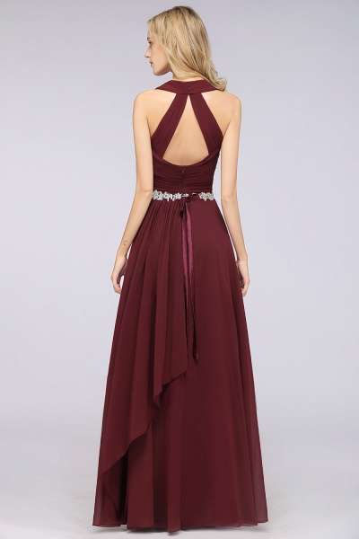A-Line Chiffon Halter V-Neck Sleeveless Ruffle Floor-Length Bridesmaid Dress with Appliques Sashes_2