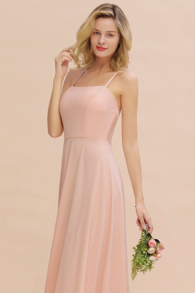 BM0782 Modern Chiffon Straps Sleeveless Open Back Long Bridesmaid Dress_6