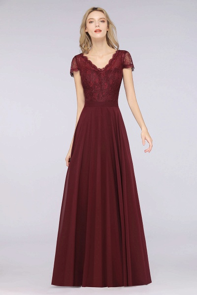 A-Line Chiffon Lace V-Neck Cap-Sleeves Floor-Length Bridesmaid Dress_3