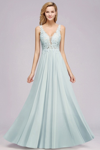 BM0833 Sexy Chiffon Beaded Lace V-Neck Sleeveless Long Bridesmaid Dress_1