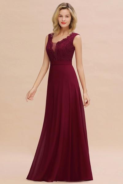 Elegant A-line Chiffon Lace V-Neck Sleeveless Floor-Length Bridesmaid Dress_5