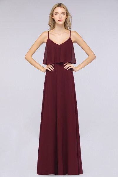 BMbridal Sexy Chiffon V-Neck Burgundy Chiffon Bridesmaid Dresses with Spaghetti Straps_3