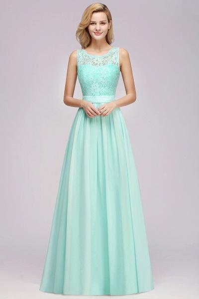 BM0834 Chiffon A-Line Lace Scalloped Sleeveless Long Ruffles Bridesmaid Dress_3