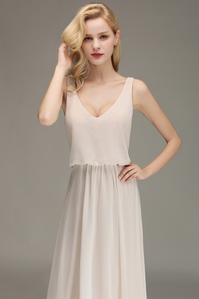BM0033 Elegant Straps Sexy V-Neck Long Bridesmaid Dress_8