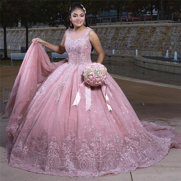 Fabulous Jewel Tulle Ball Gown Quinceanera Dress_1