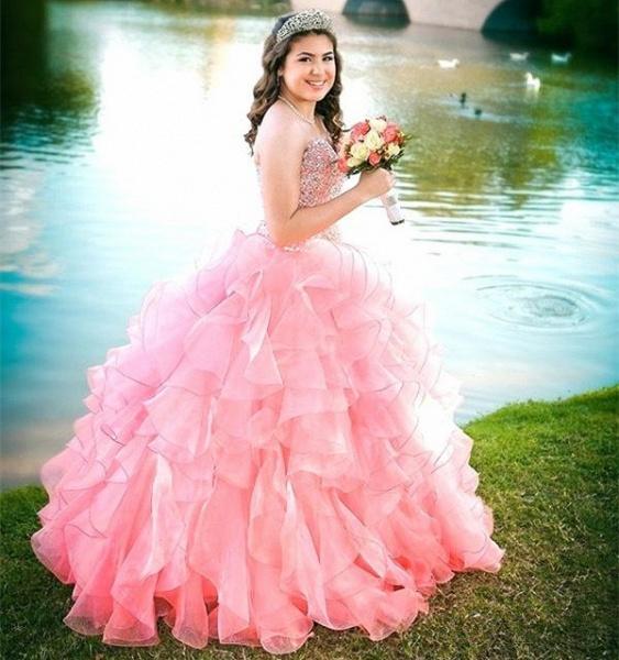 Exquisite Pink Sweetheart Ruffles Ball Gown Quinceanera Dress_1