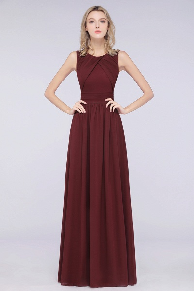 A-Line Chiffon Round-Neck Sleeveless Floor-Length Bridesmaid Dress with Ruffles_3