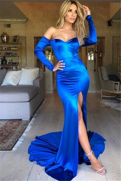 Attractive Long Sleeve Split Mermaid Prom Dress_1
