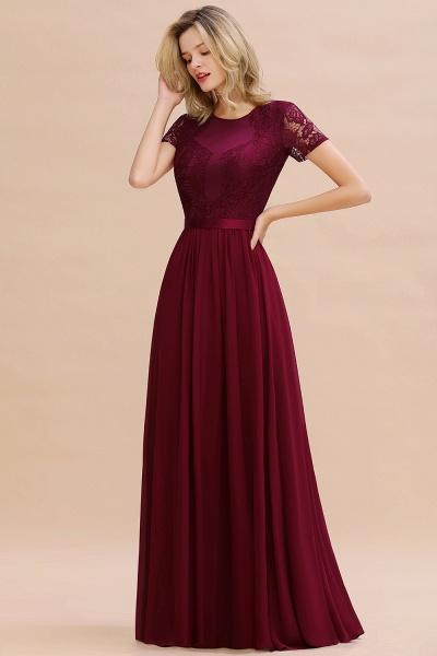 BM0831 Chiffon Lace Scoop Short Sleeve Bridesmaid Dress_55