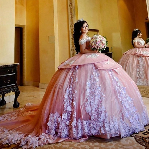 Elegant Off-the-shoulder Tulle Ball Gown Quinceanera Dress_3