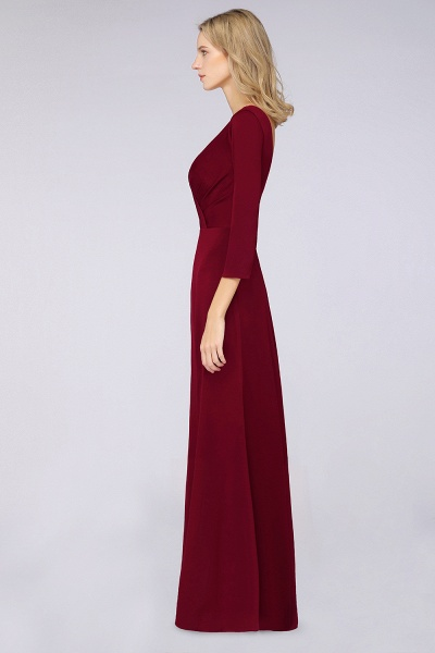 A-Line Spandex V-Neck Long-Sleeves Side-Slit Floor-Length Bridesmaid Dress with Ruffles_36