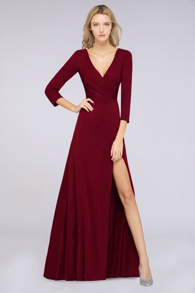 A-Line Spandex V-Neck Long-Sleeves Side-Slit Floor-Length Bridesmaid Dress with Ruffles_31