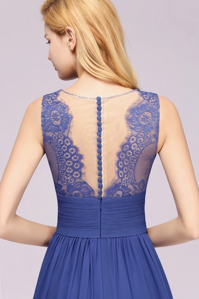 BM0835 Lace Chiffon Jewel Sleeveless Ruffles Short Bridesmaid Dress_58