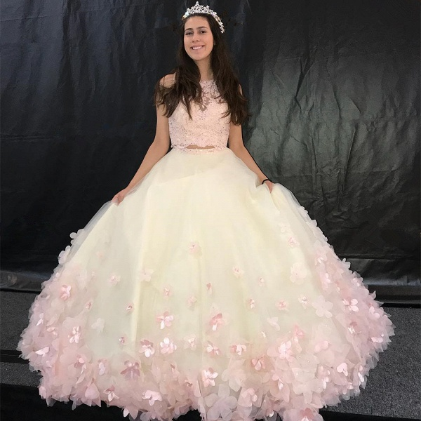 Modest Jewel Tulle A-line Quinceanera Dress_1