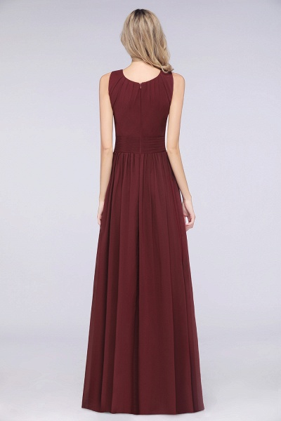 A-Line Chiffon Round-Neck Sleeveless Floor-Length Bridesmaid Dress with Ruffles_2