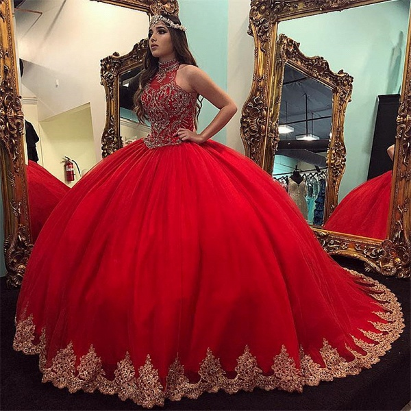 Latest High Neck Tulle Ball Gown Quinceanera Dress_1