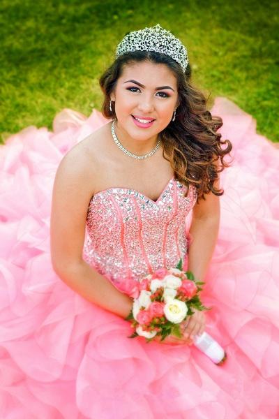 Exquisite Pink Sweetheart Ruffles Ball Gown Quinceanera Dress_2