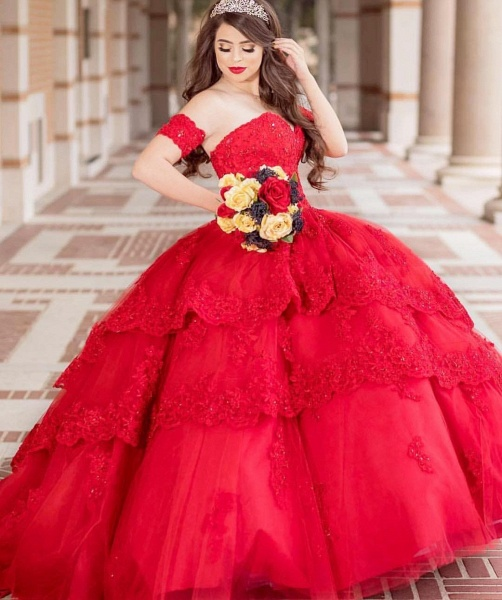 Fabulous Sweetheart Tulle Ball Gown Quinceanera Dress_1