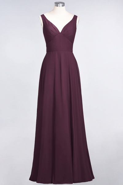 A-Line Chiffon V-Neck Straps Sleeveless Ruffles Floor-Length Bridesmaid Dress with Open Back_19