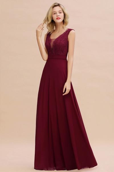 Elegant A-line Chiffon Lace V-Neck Sleeveless Floor-Length Bridesmaid Dress_6